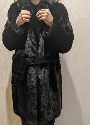 Шоколадная норковая шуба с поясом и карманами