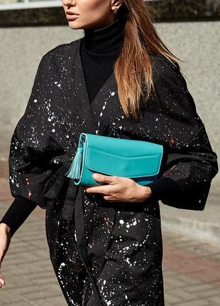 Эксклюзивная сумка вечерняя клатч кроссбоди на пояс кожаная голубая бирюзовая handmade