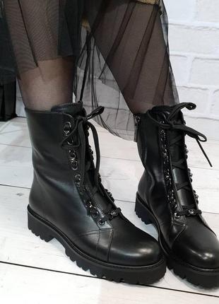 Ботинки зимние aquamarin, натуральная кожа, зима 2020