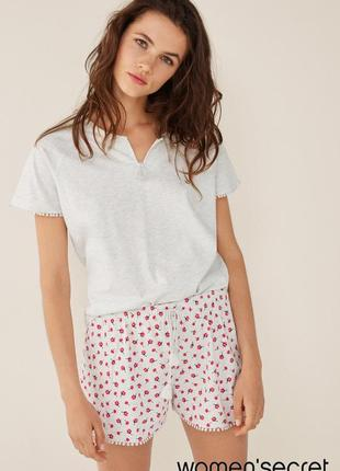 Нежная пижама с шортами xs 32-34 от women'secret, цветочный принт