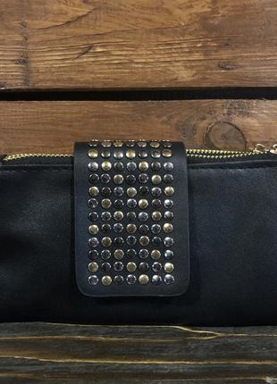 Чёрный клатч кошелёк