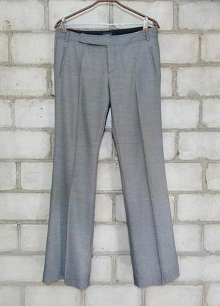 Меланжевые брюки прямой крой стрелка офис деловой стиль