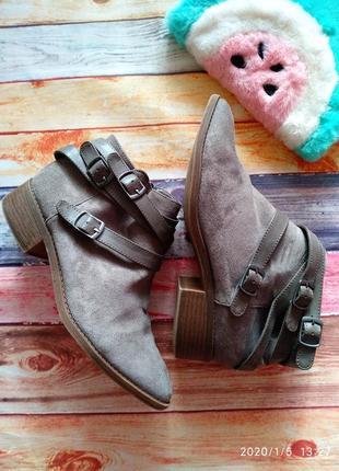 Скидка! замшевые 🔥челси ботинки с пряжками dorothy perkins