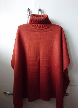 Пончо кирпичного цвета, one size, 500 грн