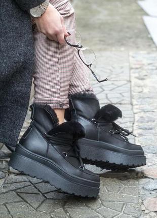 Луноходы сапоги ботинки зимние женские из натуральной кожи с натуральным мехом