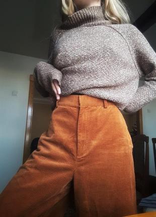 Штаны-кюлоты вельветовые терракотового цвета