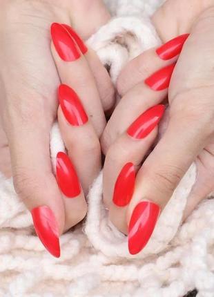 Комплект накладных ногтей 24 шт красного цвета