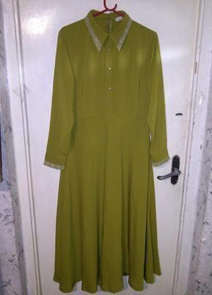 Элегантное,нарядное,оливковое платье-клёш в пол,большого размера,n.k by korkut (турция)