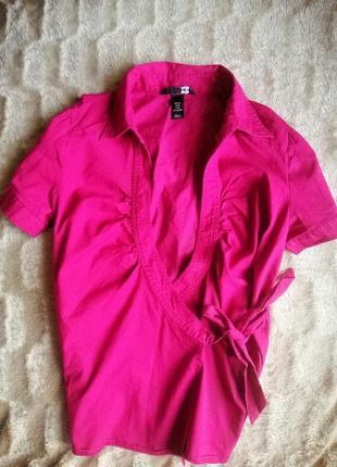 Блуза тениска рубашка малиновая розовая на запах классика катон h&m