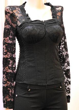 Шикарная блуза-корсет стрейч-гипюр размеры м и ххl