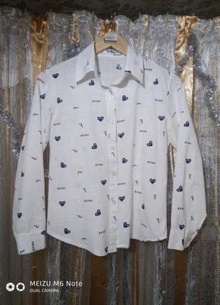 Белая хлопковая рубашка с сердечками fashion