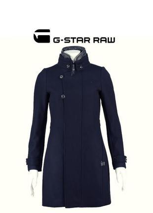 G-star raw minor wool slim coat шерстяное пальто удлиненное премиум mazarine blue