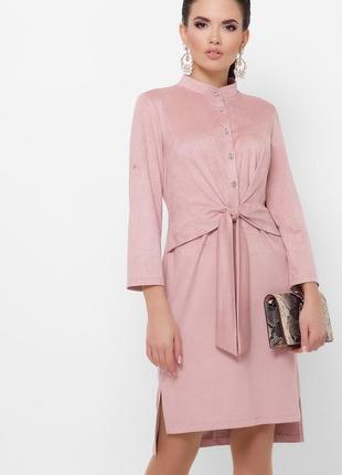 Платье замшевое офисное размеры: s,m,l,xl