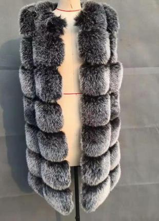 Шуба жилет трансформер с рукавами 90 см длинный меховой чернобурка утепленный