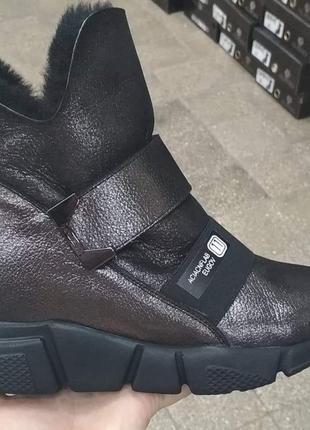 Зимние кожаные ботинки кроссовки