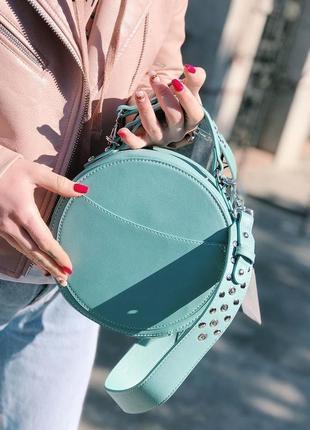David jones сумка клатч  круглая бирюзовая голубая