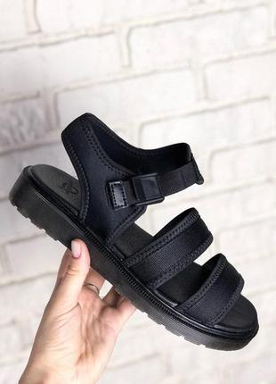 🌴летние сандали💖dr martens sandals black💖женские черные сланцы/шлепанцы доктор мартинс