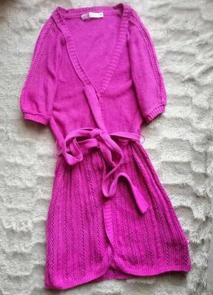 Кардиган катоновый накидка кофта малиновый розовый вязаный с поясом короткий рукав