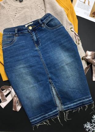 Стрейчевая юбка с необработанным низом