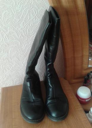Турецкие кожаные сапоги на цигейке