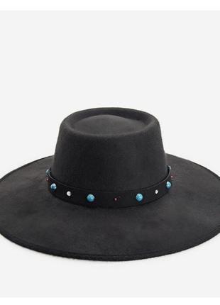 Шляпа чёрная с широкими полями шляпа канотье  zara mango stradivarius