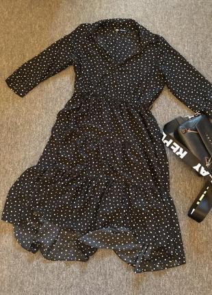 Чёрное платье в белый горох от zara
