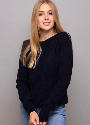 Темно-синий вязаный свитер