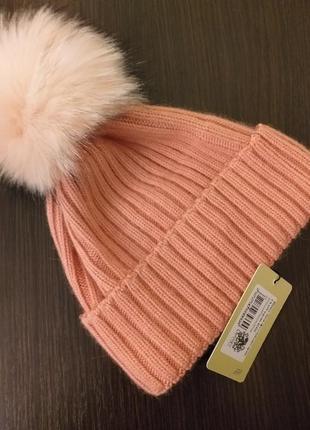 Шикарная теплая шапка с меховым бумбоном,вязанная шапка