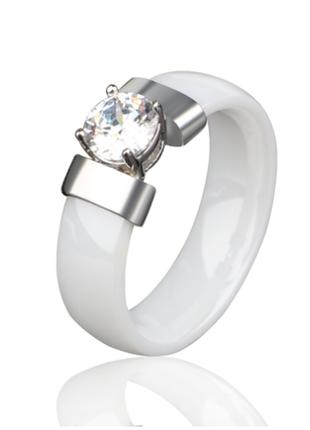 💎керамическое стильное новое кольцо, белое, камень вставка💎5 фото