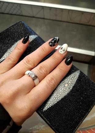 💎керамическое стильное новое кольцо, белое, камень вставка💎1 фото