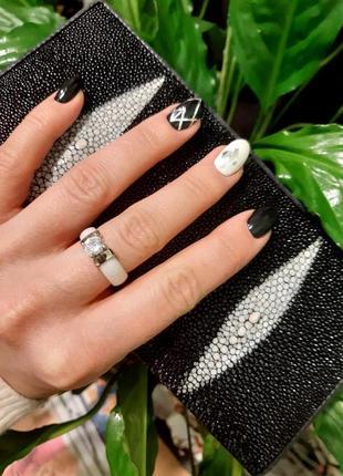 💎керамическое стильное новое кольцо, белое, камень вставка💎2 фото