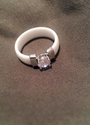💎керамическое стильное новое кольцо, белое, камень вставка💎3 фото