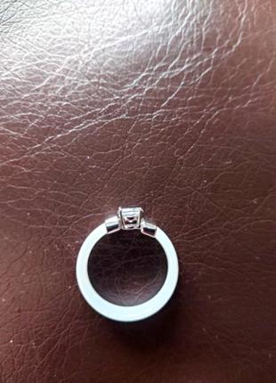 💎керамическое стильное новое кольцо, белое, камень вставка💎4 фото