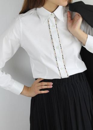 Белая хлопковая  рубашка burberry оригинал