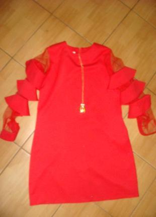 Очень нарядное платье на девочку подростка. р. 164, одето 1 раз