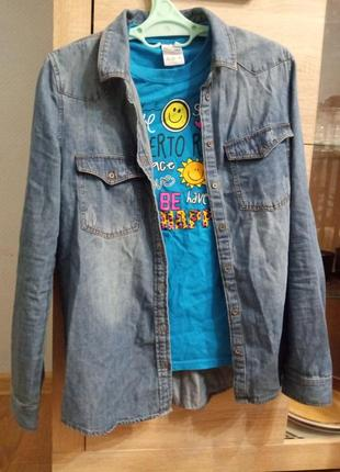 # розвантажуюсь підліткова джинсова сорочка + t shirt