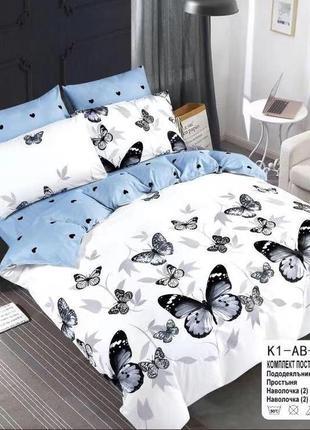 Сатиновое постельное бельё двуспальное евро комплект