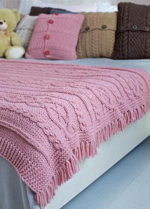 Комплект: вязаный плед цвета розовой пудры с бахромой+ вязаная подушка 40х40