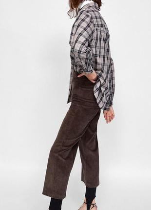 Вельветовые брюки кюлоты, от zara, высокая посадка, прямой крой, цвет шоколад! новые!
