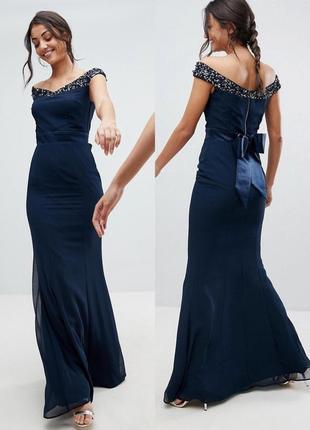 Платье макси с открытыми плечами и бантом сзади, приталенное вечернее платье в пол синее,
