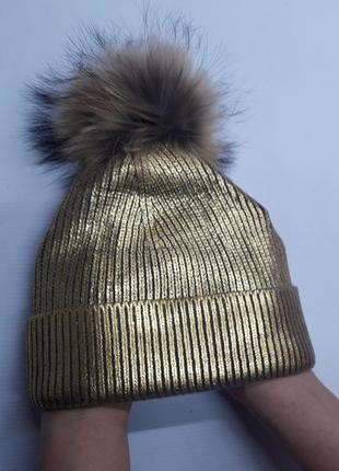 Золотистая шапочка с отстегивающимся помпоном, италия
