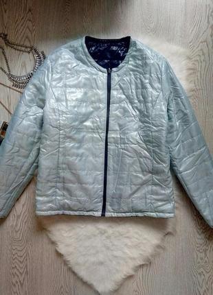 Двухсоронняя куртка ветровка на молнии синяя с голубым деми батал большой размер