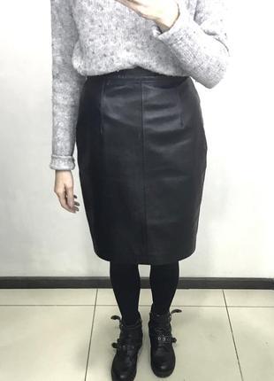 Кожаная юбка карандаш чёрная кожа zara chanel dior michael kors