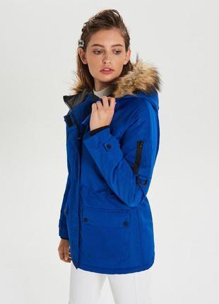 Куртка парка лыжная бордическая с мехом индиго