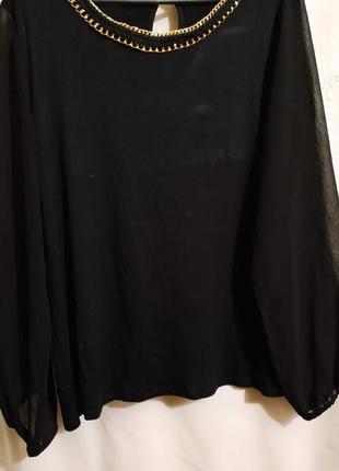 Cтильная блуза с шифоновыми рукавами, оверсайз