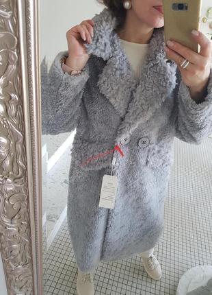 Натуральная шуба меховое пальто овчина стриженная шерсть 100%