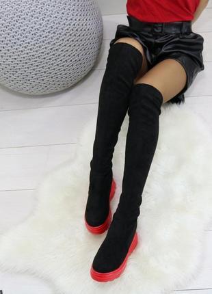 Замшевые сапоги ботфорты на платформе,замшевые ботфорты чулки с красной подошвой