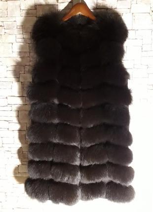 Жилетка песец 💣💣💣натуральная 90 см рр s-42 (m- 44)(xs-40)