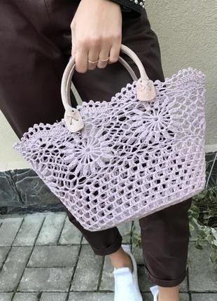 Романтическая,вязаная,ажурная сумка,корзина,ручки кожа,ручной работы