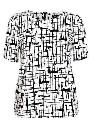 Стильная черно-белая футболка топ на молнии с узором